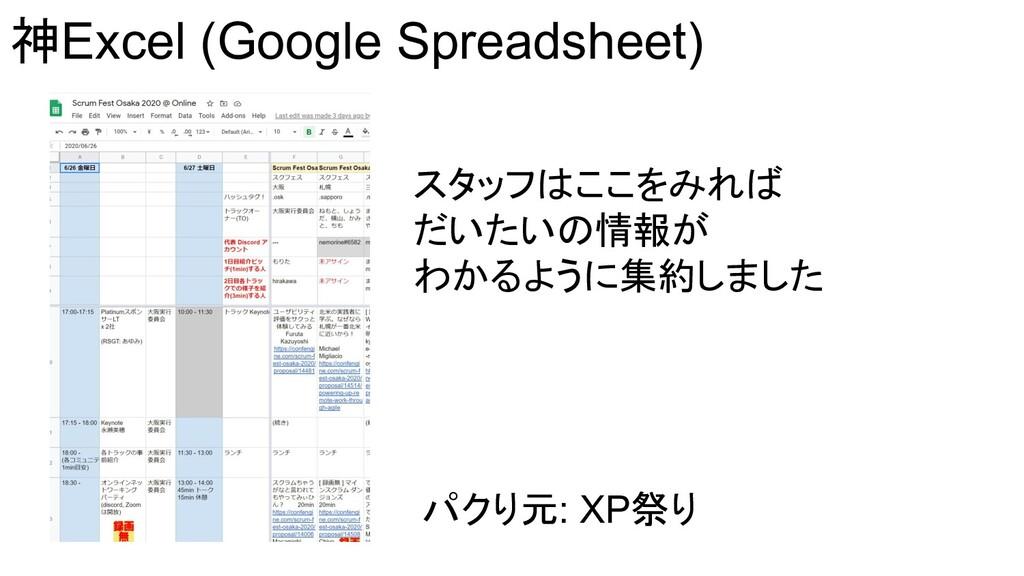 神Excel (Google Spreadsheet) スタッフはここをみれば だいたいの情報...