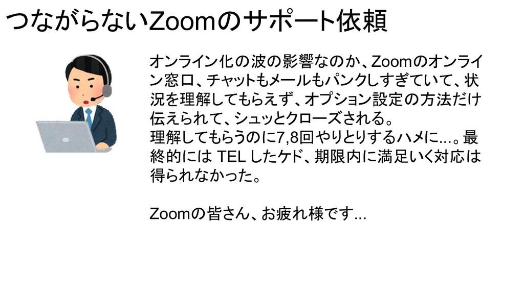 つながらないZoomのサポート依頼 オンライン化の波の影響なのか、Zoomのオンライ ン窓口、...