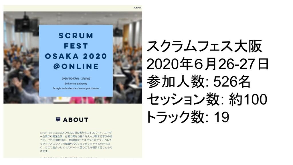 スクラムフェス大阪 2020年6月26-27日 参加人数: 526名 セッション数: 約100...
