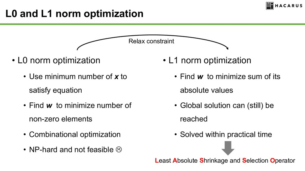 • L0 norm optimization • Use minimum number of ...