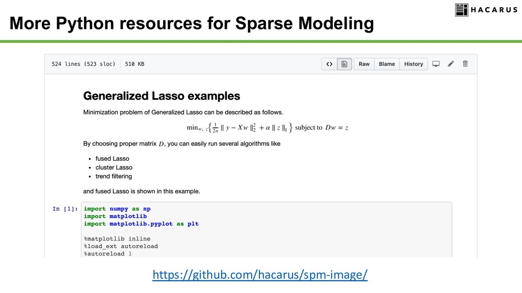 More Python resources for Sparse Modeling https...