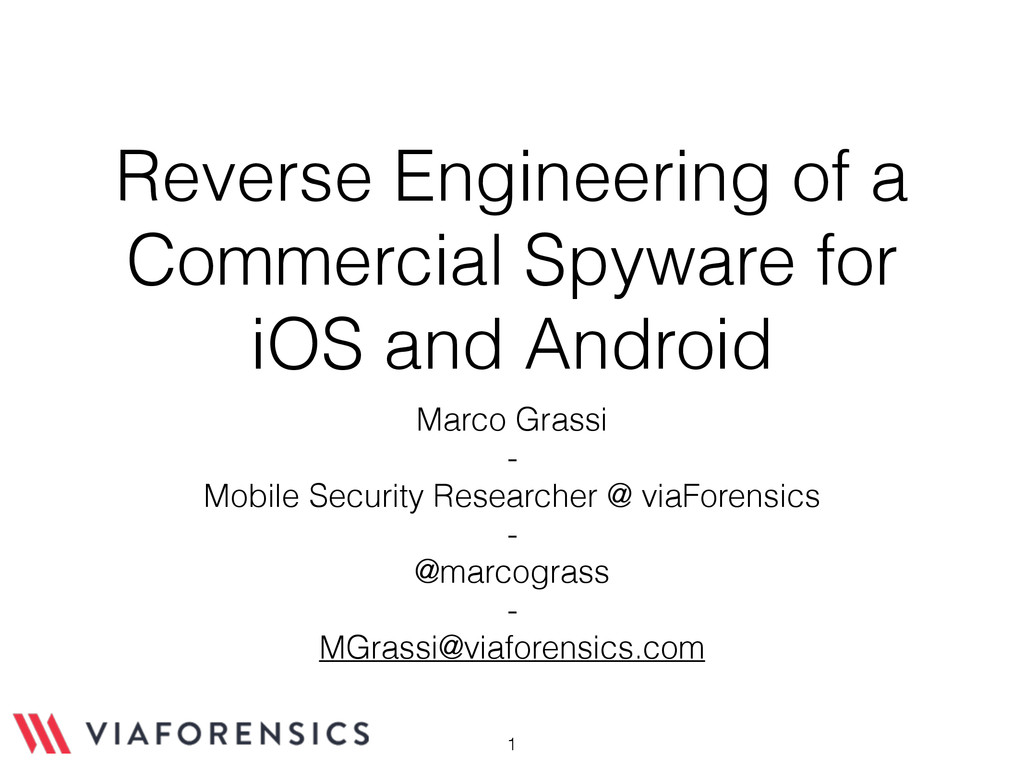 Reverse Engineering of a Commercial Spyware for...