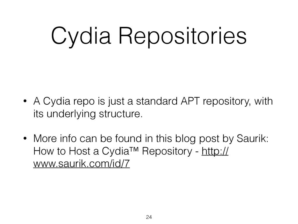 Cydia Repositories • A Cydia repo is just a sta...