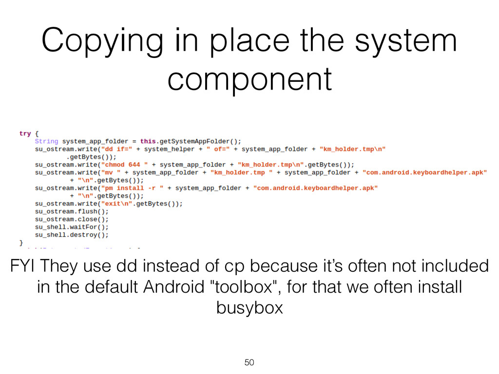 Copying in place the system component 50 FYI Th...