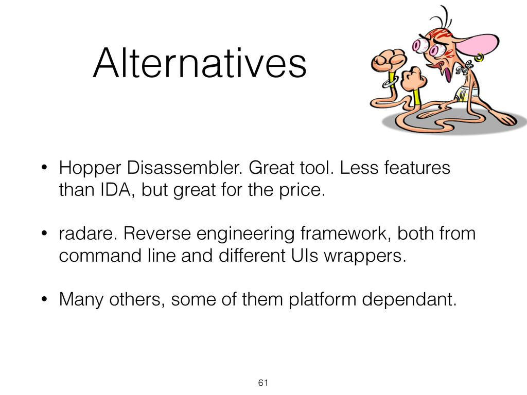Alternatives • Hopper Disassembler. Great tool....