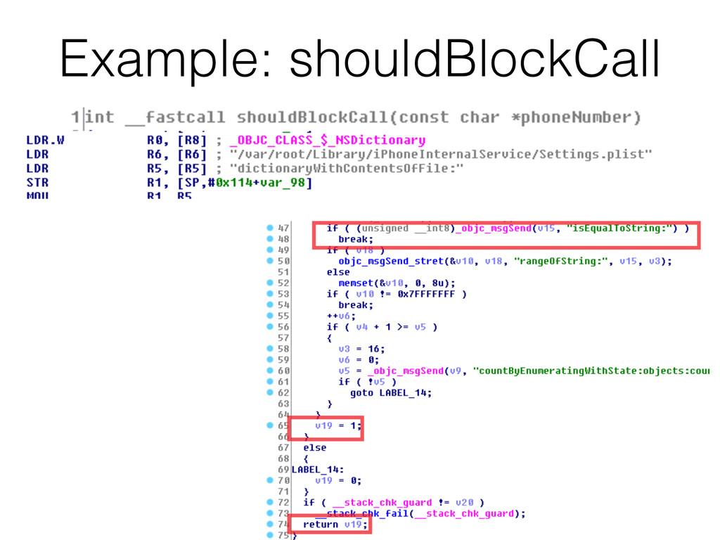 Example: shouldBlockCall 70