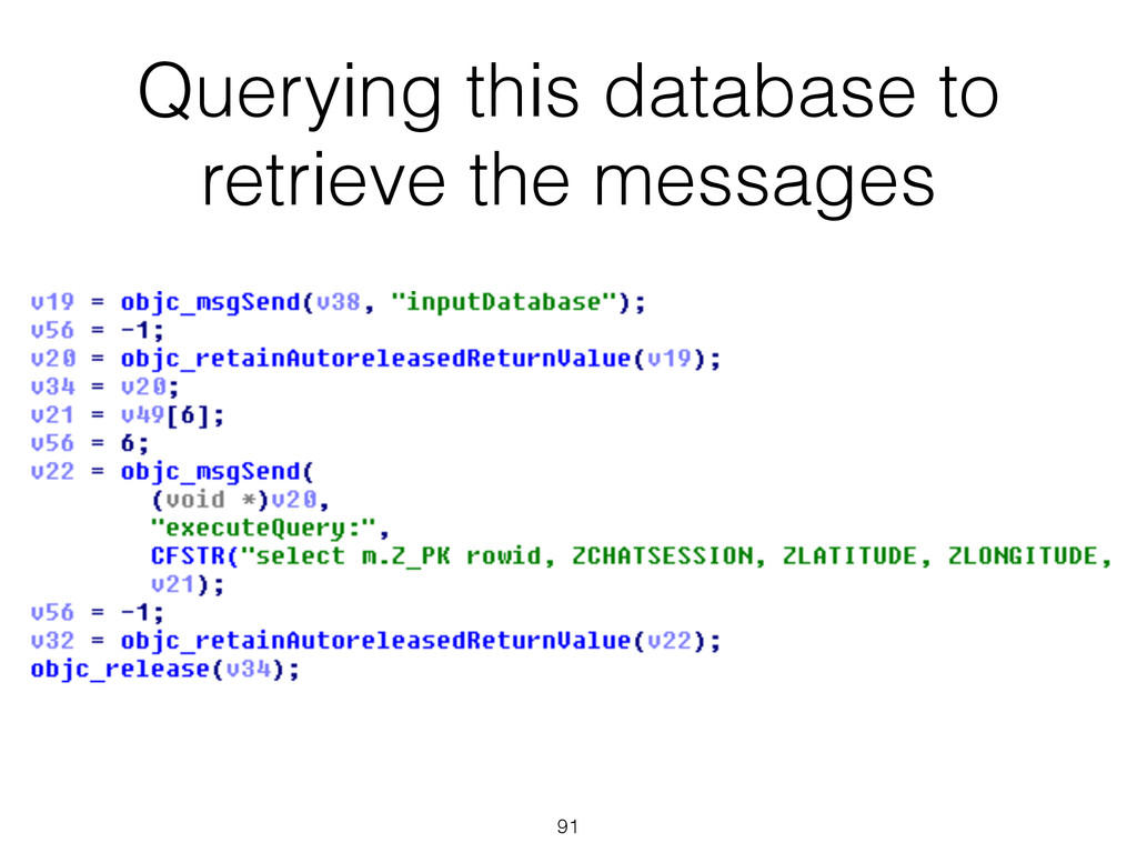 Querying this database to retrieve the messages...