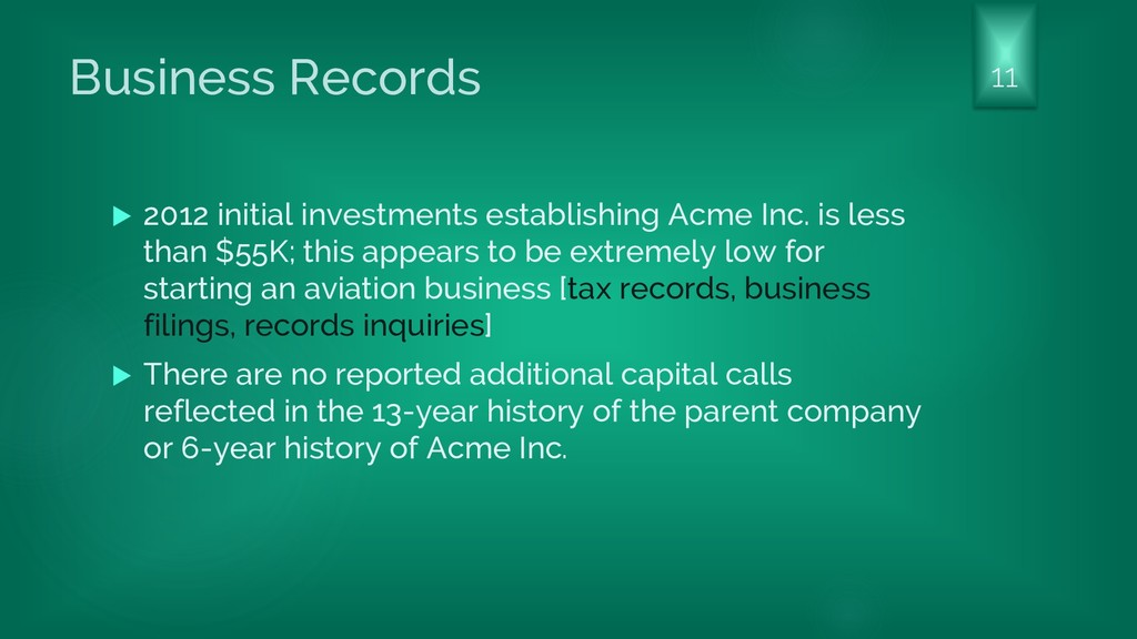 Business Records  2012 initial investments est...