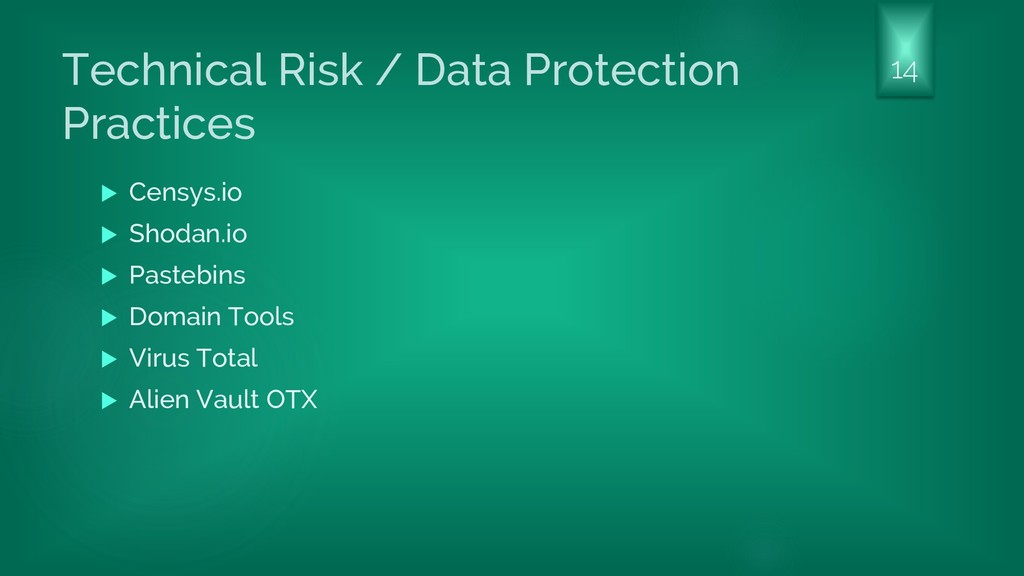 Technical Risk / Data Protection Practices  Ce...