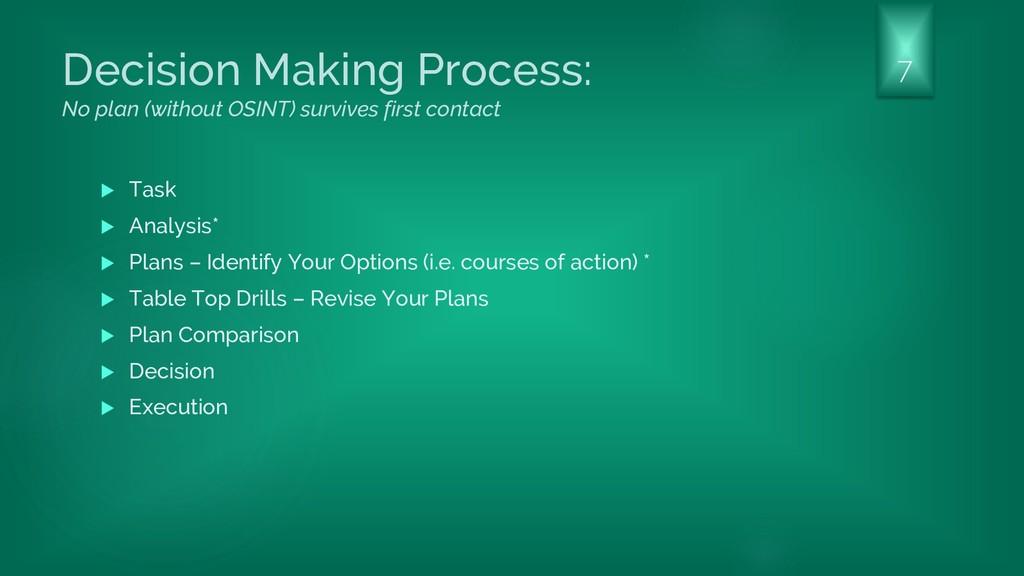 Decision Making Process: No plan (without OSINT...