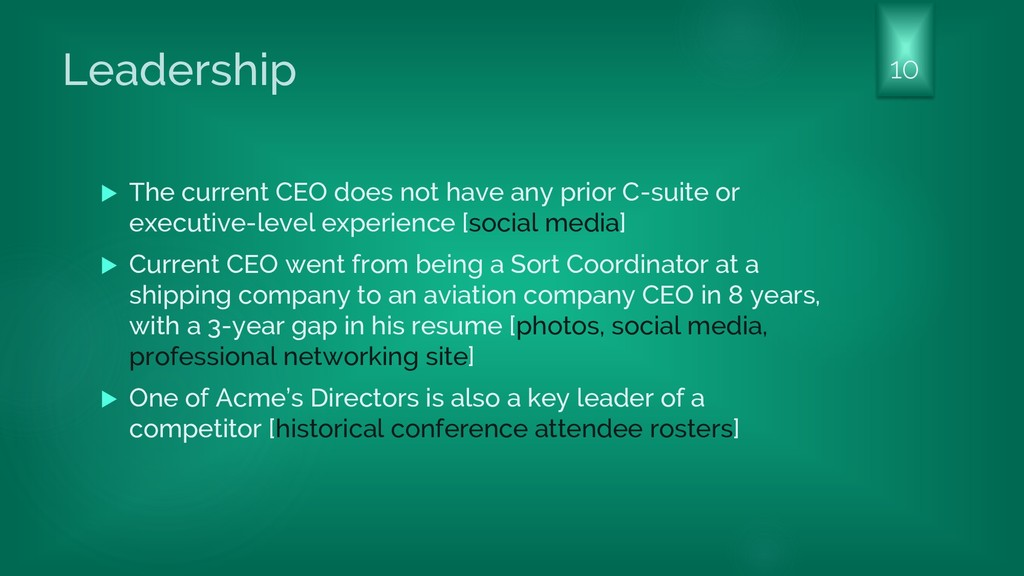 Leadership  The current CEO does not have any ...