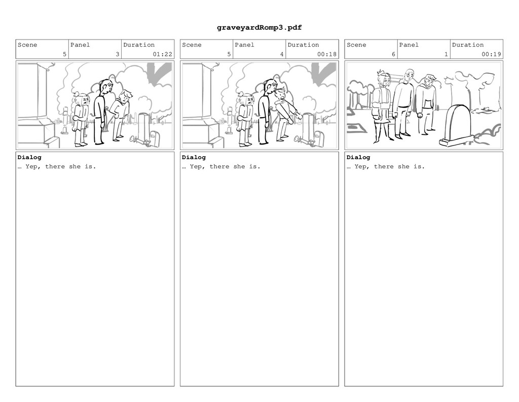 Scene 5 Panel 3 Duration 01:22 Dialog … Yep, th...