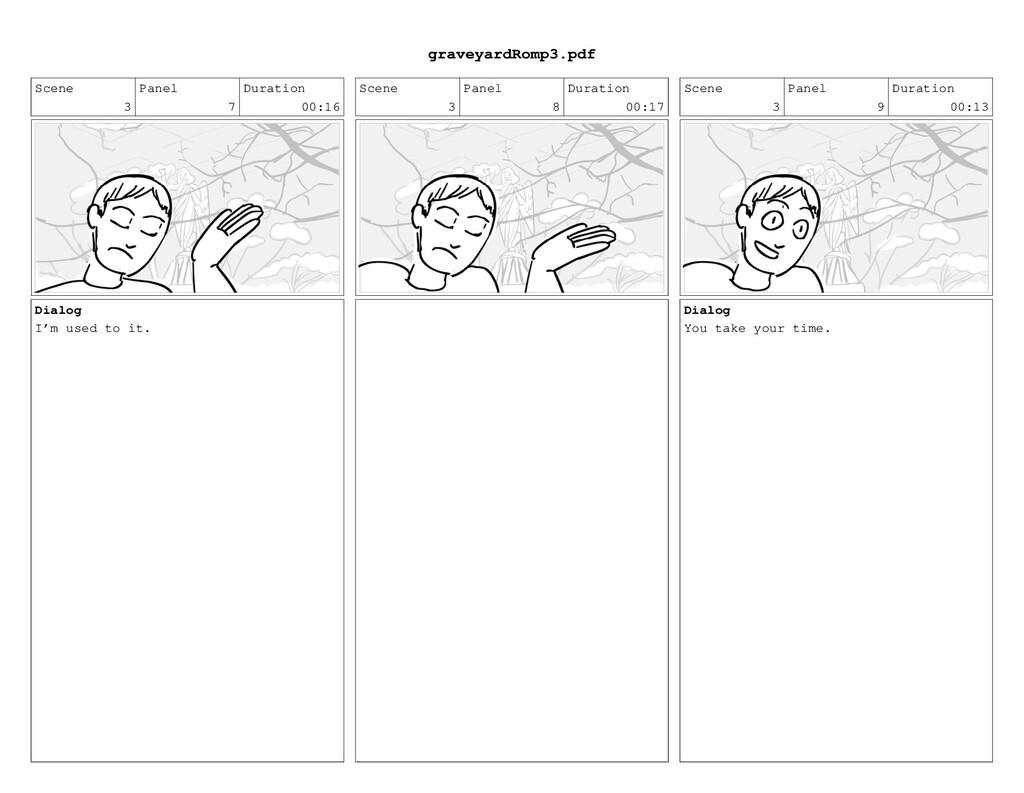 Scene 3 Panel 7 Duration 00:16 Dialog I'm used ...