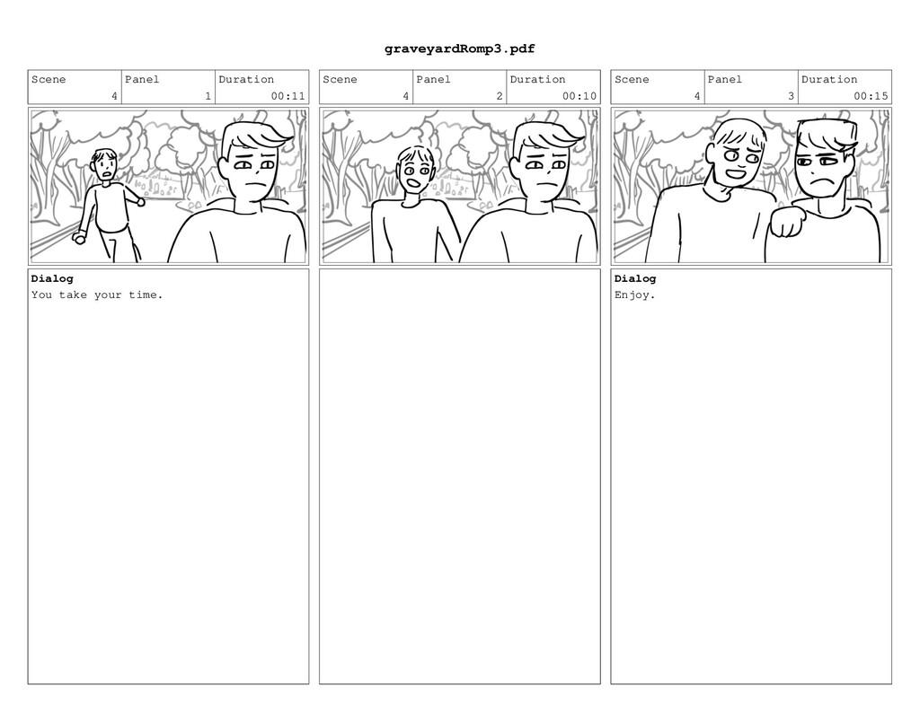 Scene 4 Panel 1 Duration 00:11 Dialog You take ...