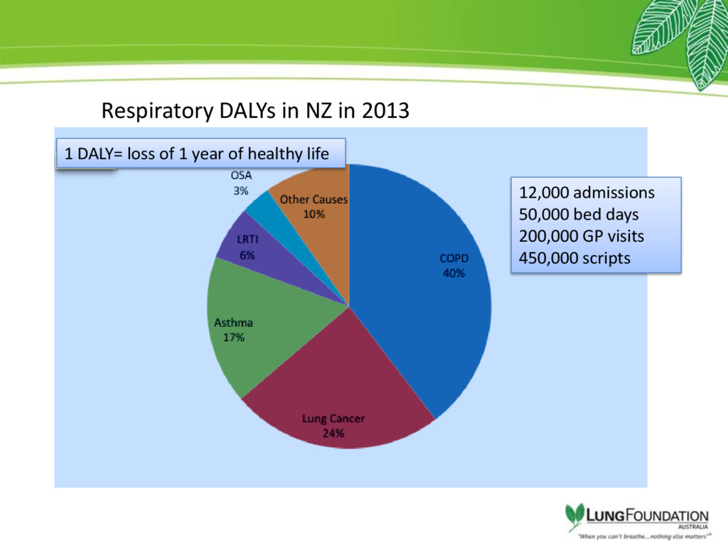 Respiratory DALYs in NZ in 2013 12,000 admissio...