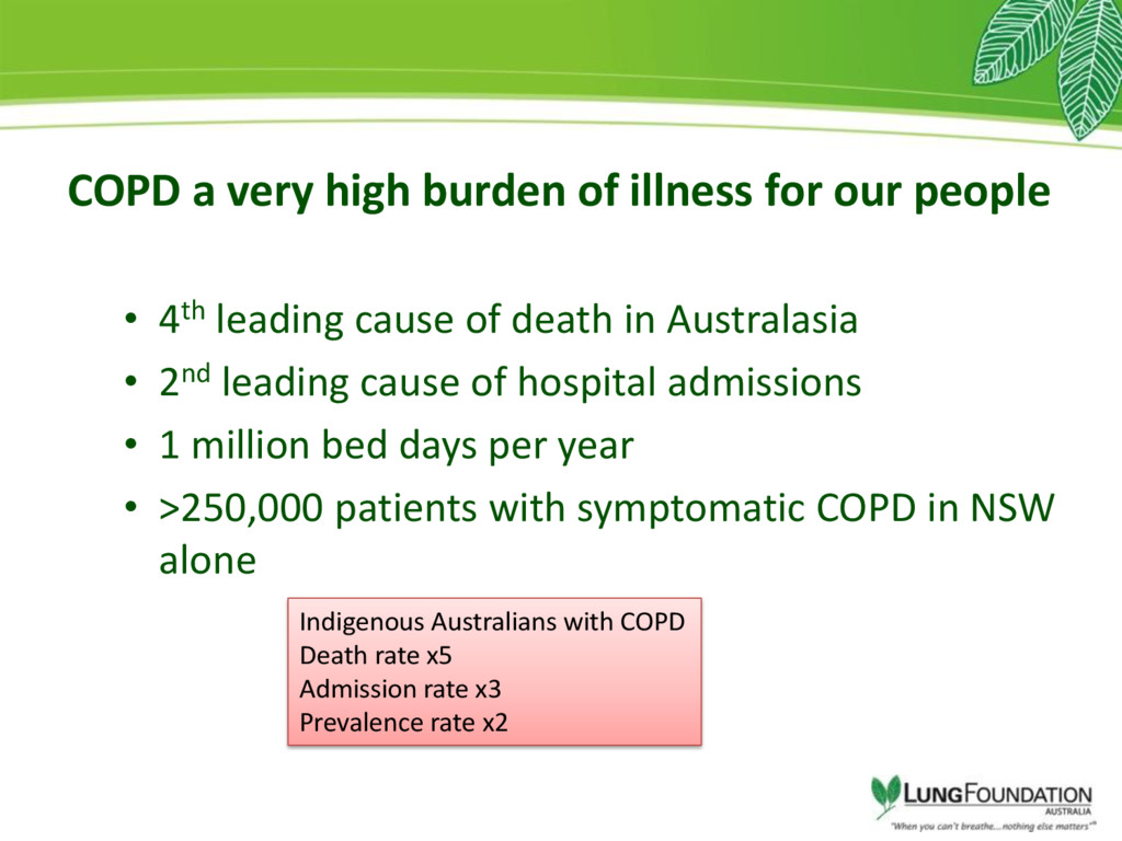 COPD a very high burden of illness for our peop...