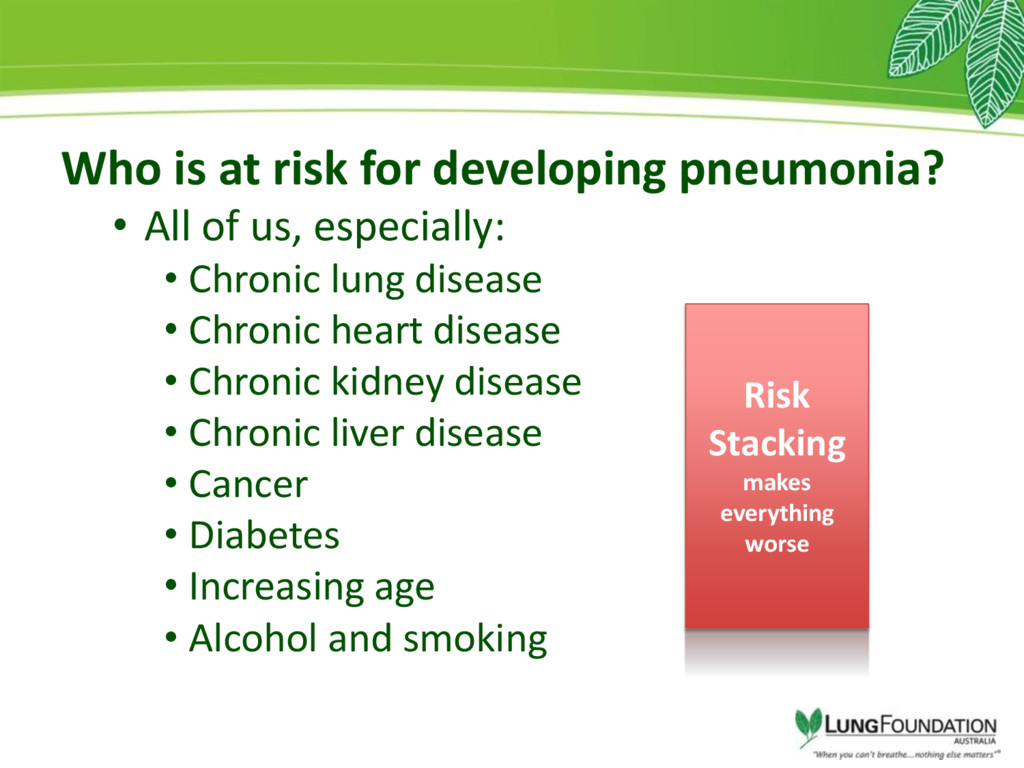 Who is at risk for developing pneumonia? • All ...