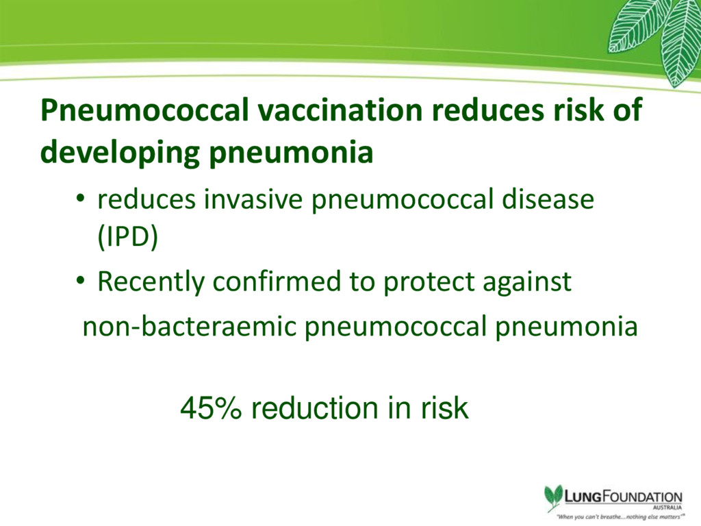 Pneumococcal vaccination reduces risk of develo...