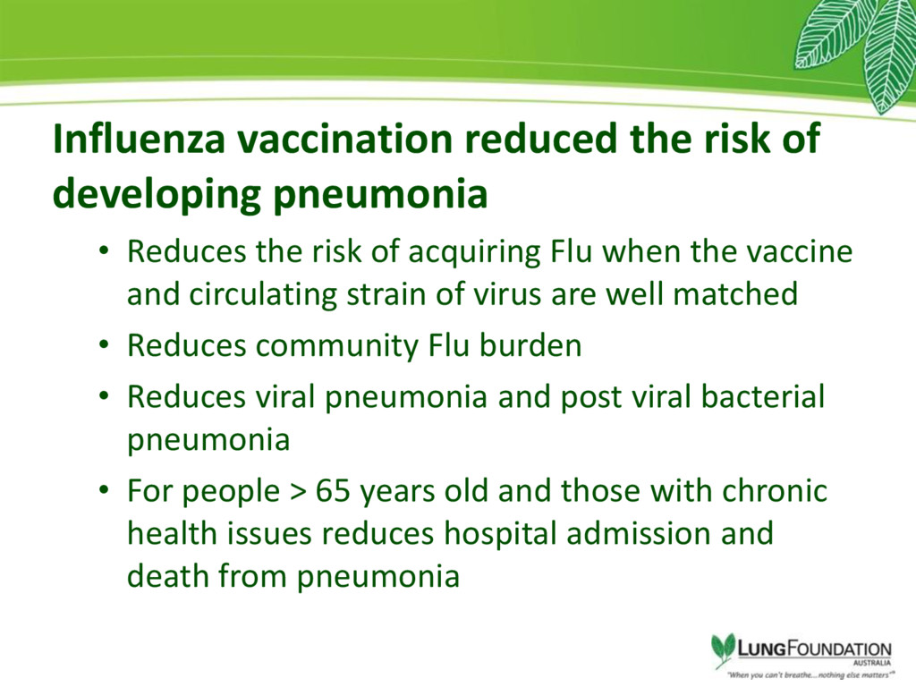 Influenza vaccination reduced the risk of devel...