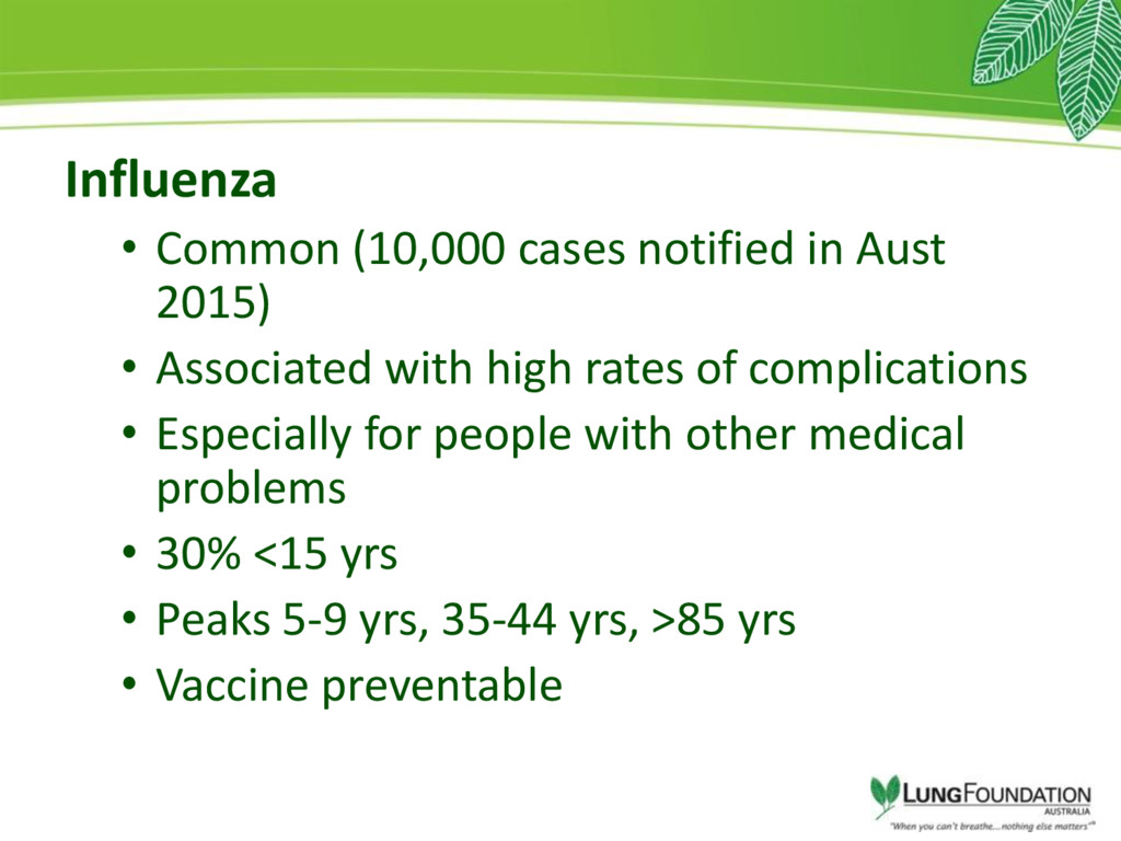 Influenza • Common (10,000 cases notified in Au...