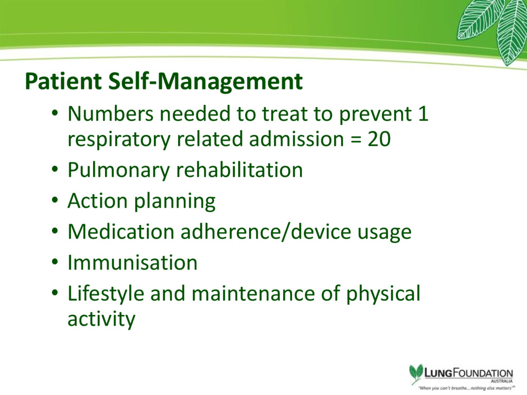 Patient Self-Management • Numbers needed to tre...