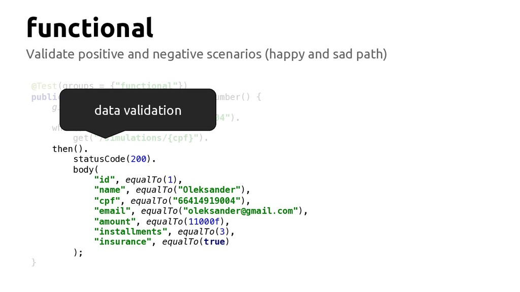 functional Validate positive and negative scena...