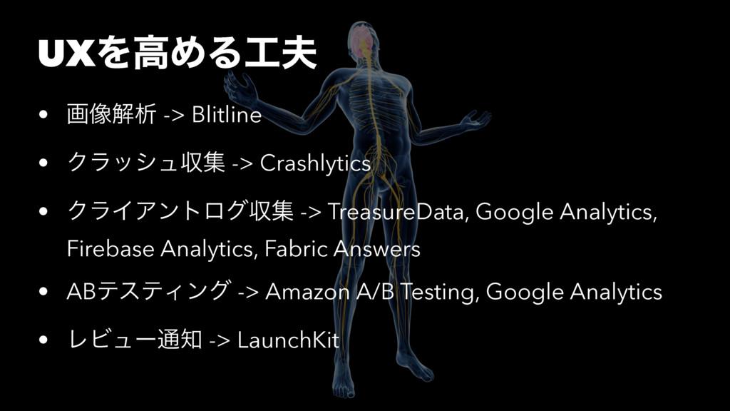 UXΛߴΊΔ • ը૾ղੳ -> Blitline • Ϋϥογϡऩू -> Crashl...
