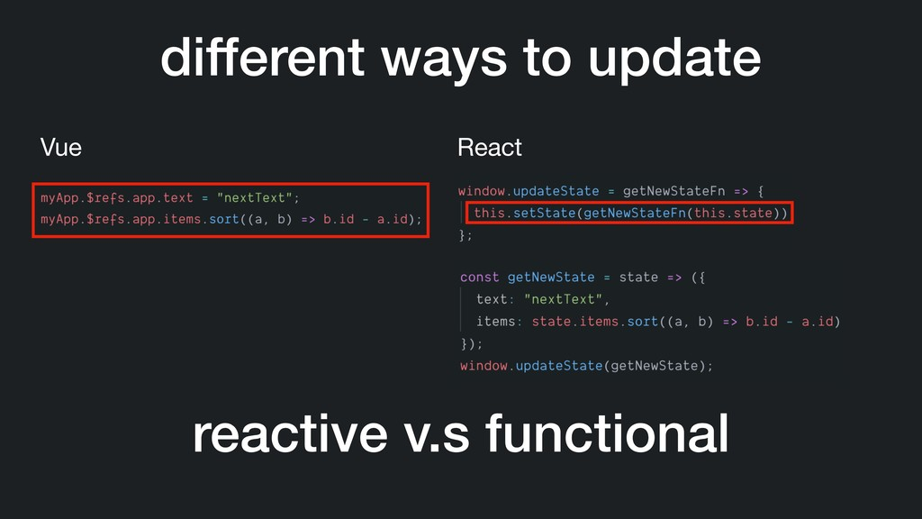 different ways to update Vue React reactive v.s...