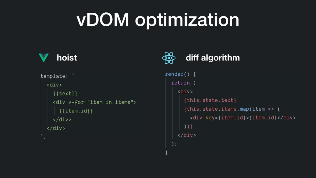 vDOM optimization hoist diff algorithm