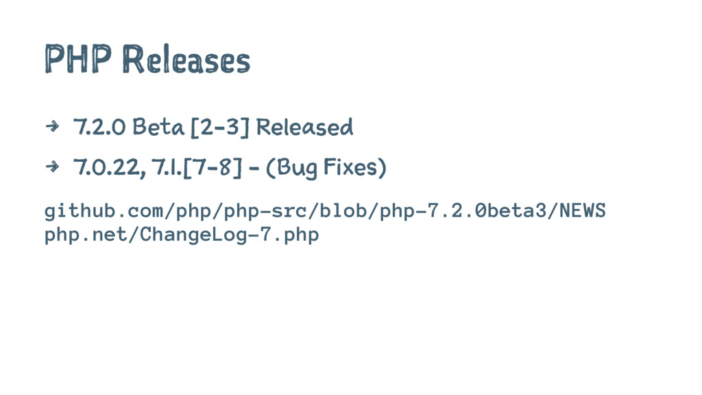 PHP Releases 4 7.2.0 Beta [2-3] Released 4 7.0....