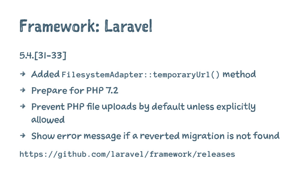 Framework: Laravel 5.4.[31-33] 4 Added Filesyst...