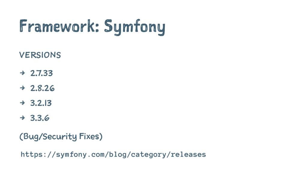 Framework: Symfony VERSIONS 4 2.7.33 4 2.8.26 4...