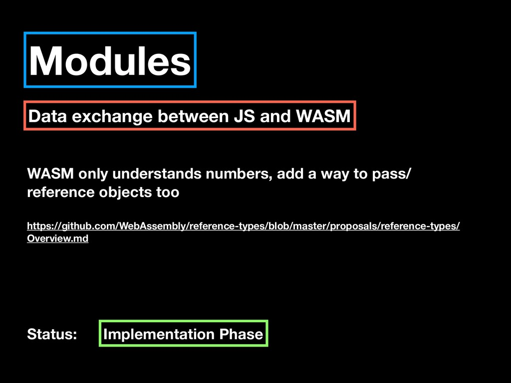 Modules Data exchange between JS and WASM WASM ...