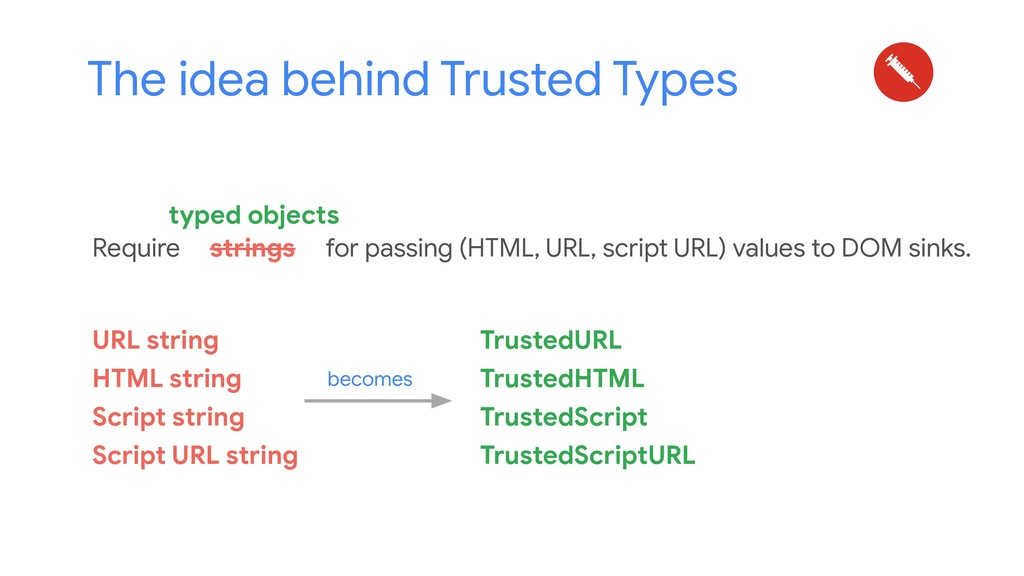 The idea behind Trusted Types Require strings f...