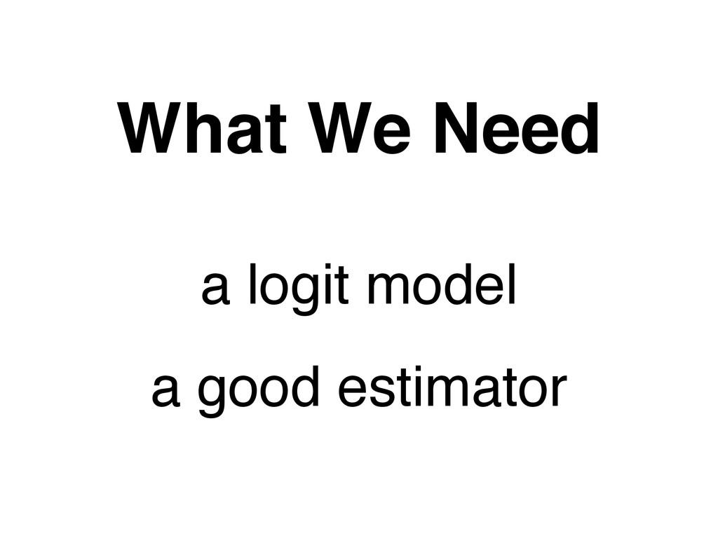 a logit model What We Need a good estimator