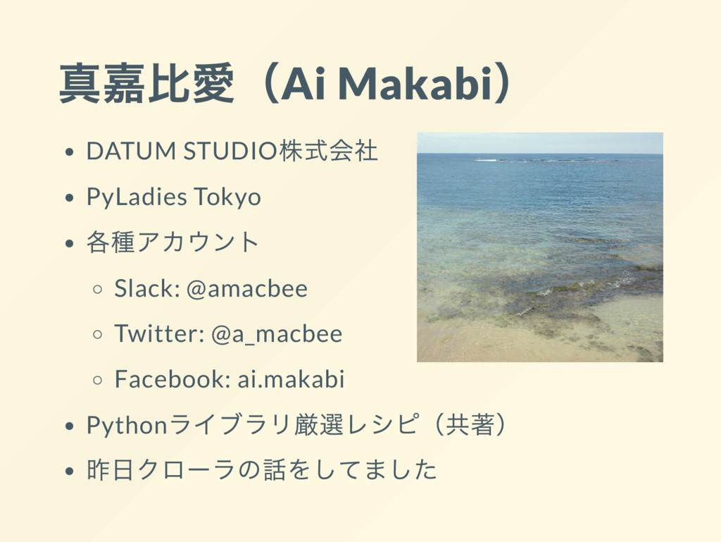 真嘉比愛(Ai Makabi) DATUM STUDIO 株式会社 PyLadies Toky...