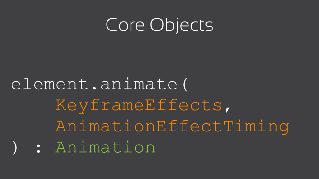 element.animate( KeyframeEffects, AnimationEffe...
