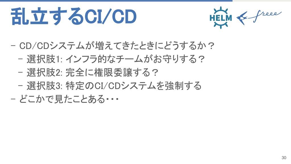 30 - CD/CDシステムが増えてきたときにどうするか? - 選択肢1: インフラ的なチーム...
