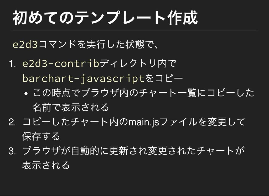 初めてのテンプレー ト作成 e2d3コマンドを実行した状態で、 1. e2d3‑contrib...