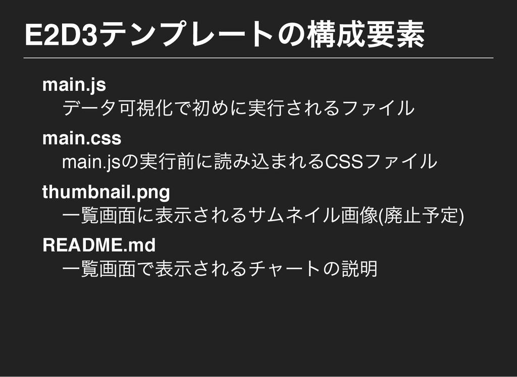 E2D3 テンプレー トの構成要素 main.js デー タ可視化で初めに実行されるファイル ...