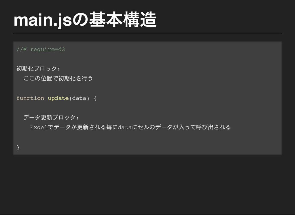 main.js の基本構造 / / # r e q u i r e = d 3 初期化ブロック...