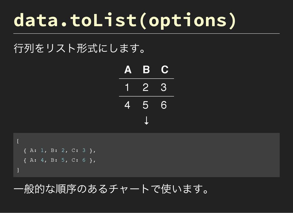 data.toList(options) 行列をリスト形式にします。 A B C 1 2 3 ...