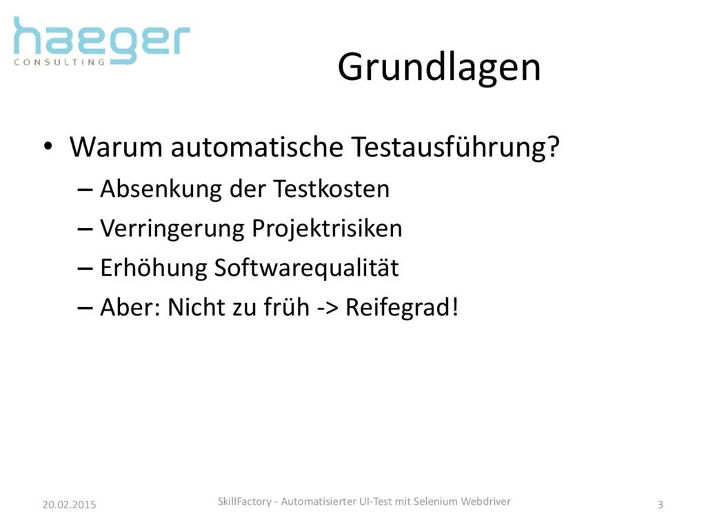 Grundlagen • Warum automatische Testausführung?...