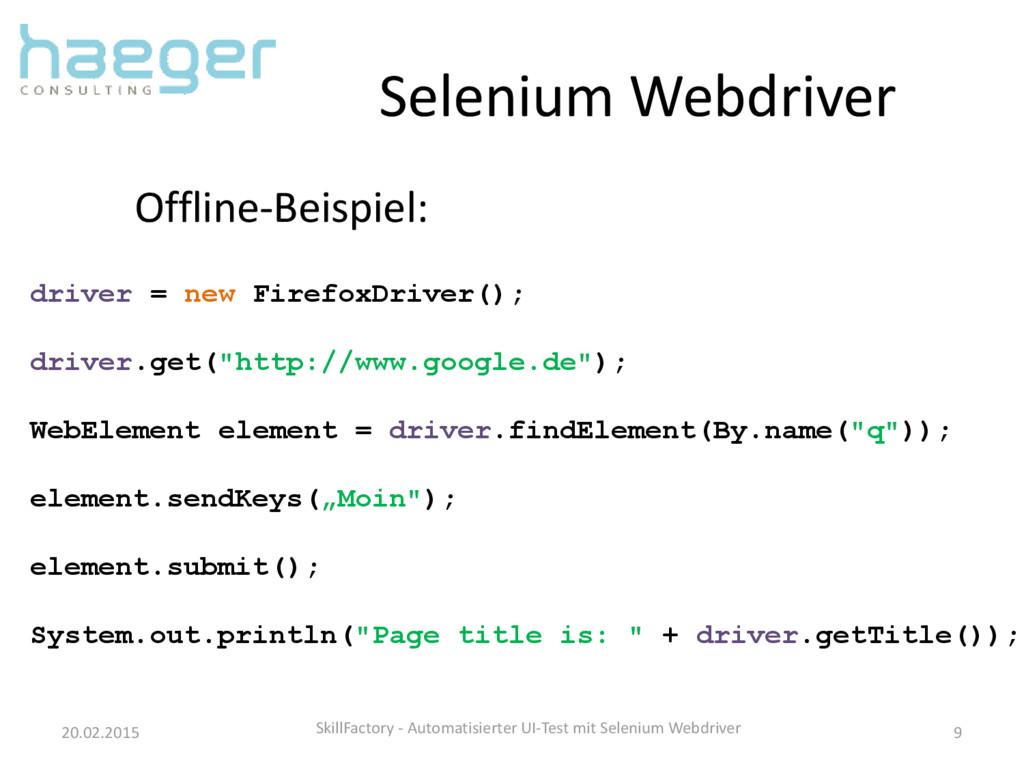 Selenium Webdriver 20.02.2015 SkillFactory - Au...