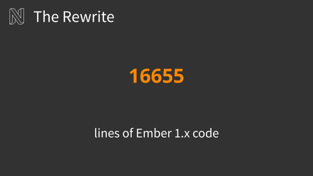 16655 lines of Ember 1.x code The Rewrite