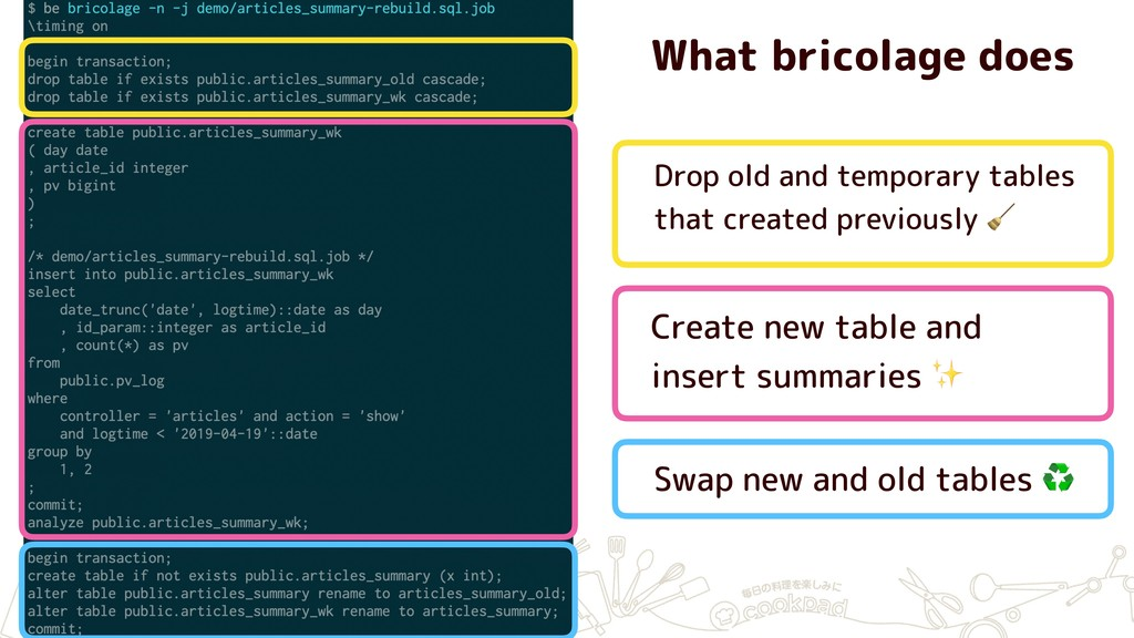 What bricolage does Drop old and temporary tabl...