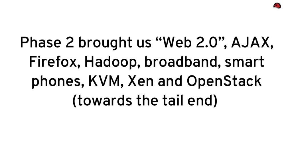 "Phase 2 brought us ""Web 2.0"", AJAX, Firefox, Ha..."