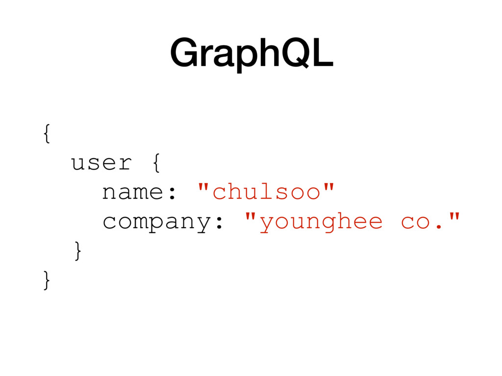 "GraphQL { user { name: ""chulsoo"" company: ""youn..."