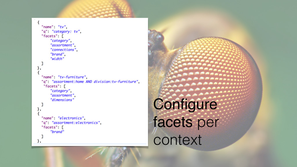 Configure facets per context