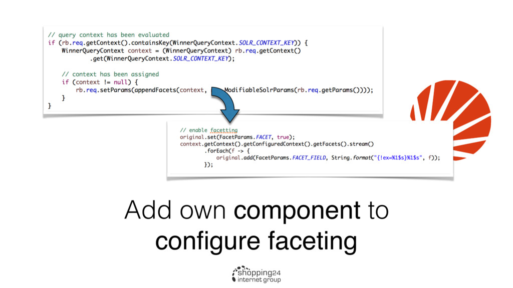 Add own component to configure faceting